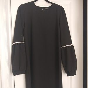 Black dress with pearl sleeves